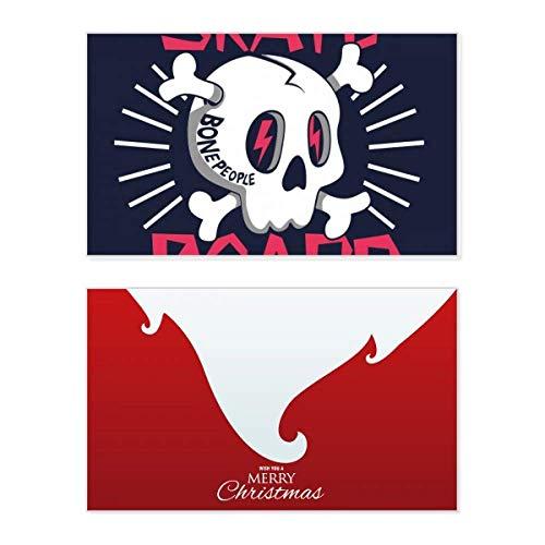 Skate Board Indian Skelett Sacrifice Totem Urlaub Merry Christmas Karte Weihnachten Vintage Nachricht