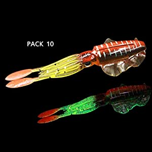 JYY 10 pcs Squid Fishing Lures, Saltwater Squid Bait Glow, Soft Squid Lures for Bass Salmon, 3D Lifelike Eyes,A-6.5cm