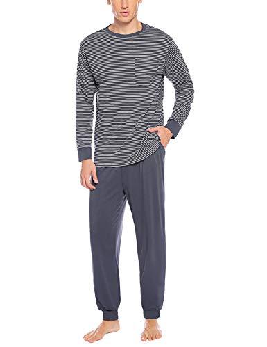 Hawiton Herren Schlafanzug Pyjama Zweiteiliger Baumwolle Gestreift Lang Nachtwäsche Langarm Rundhals (Dunkelgrau-B, Medium)