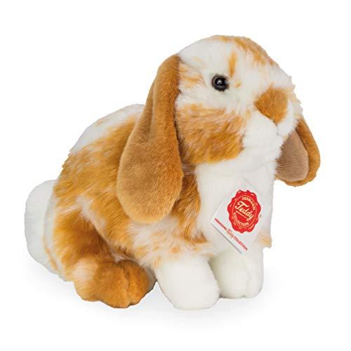 Teddy Hermann 93723 Hase Widder-Kaninchen sitzend Hellbraun/weiß gescheckt 20 cm, Kuscheltier, Plüschtier