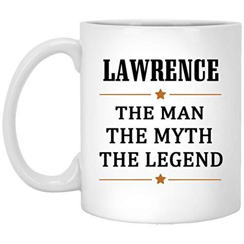 Not Applicable Lawrence Tee Cup Large Der Mann Der Mythos Die Legende Kaffeetasse - Personalisierte Geburtstagsknebel Geschenke Tasse für Lawrence Kaffeetassen Weiße Keramik 11 Unzen