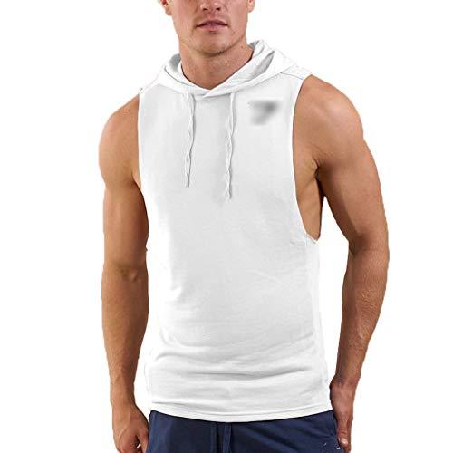 WYNZYYX - Chaleco sin mangas para hombre, blanco, large