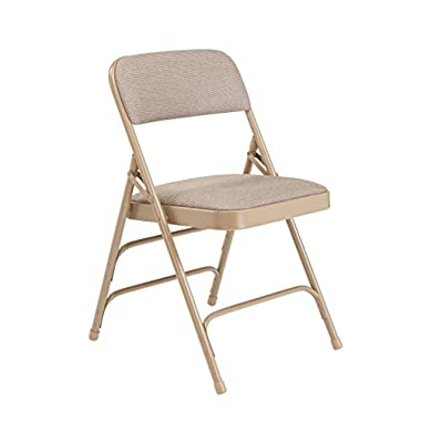 National Public Seating 2300 Series Steel Frame Upholstered Premium Fabric Seat and Back Folding Chair with Triple Brace, 480 lbs Capacity, Cafe Beige/Beige (Carton of 4)