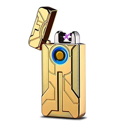 Double Arc Elektrische aansteker, oplaadbaar via USB, elektronische aansteker, winddicht, geen gas en vlamloze aansteker voor keuken, sigaret, leuk cadeau voor mannen (meerkleurig)