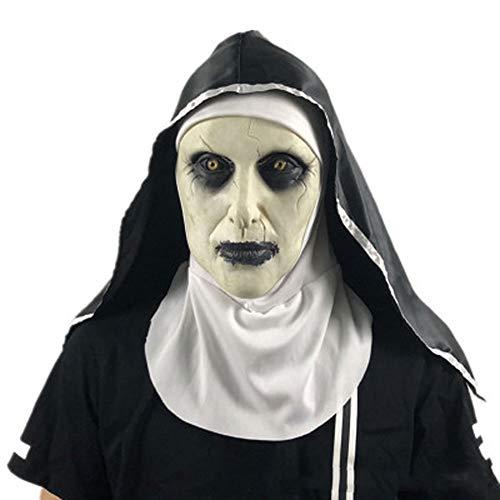 EXUVIATE Halloween Ghost Nun Kostuum Festival Horror Mask Surprise Vrouwelijke Ghost Gezicht Masker Cosplay Masker Latex Enge Volledige Hoofd