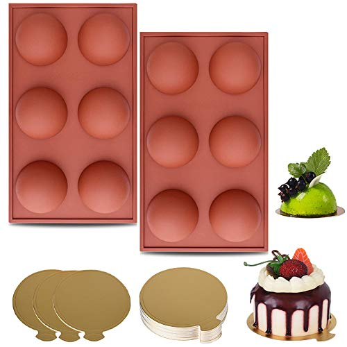 Chocolate Bomb Mold - Set of 2, Half Sphere Silicone Molds & 20pcs Mousse Cake Boards for Chocolate Bombs, Cake, Jelly, Dome Mousse