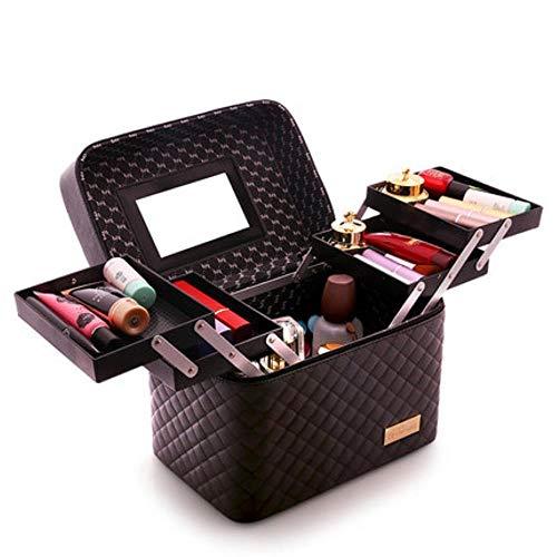 EMOHKCAB Women Large Capacity Professional Makeup Organizer Fashion Toiletry Cosmetic Bag Multilayer Storage Box Portable Pretty Suitcase,0102004-black