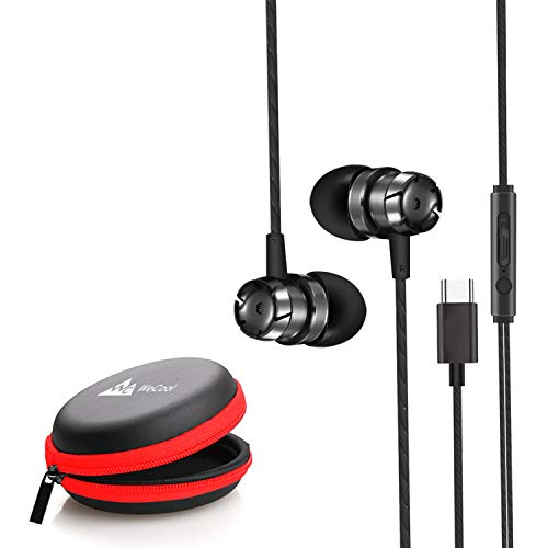 WeCool Mr.Bass Snug Fit Metallic in-Ear Earphones for Mobile with Mic high Bass Headphones for Mobile Wired Earphones with Free Carry Case (Type-C)