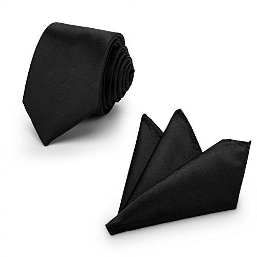 Rusty Bob - Krawatte mit Einstecktuch (in vielen Farben) - für die Verlobung, die Hochzeit - Schlips mit Taschentuch für das Sakko - 2er-Set - schwarz- (uni)