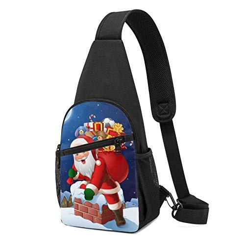 DJNGN Sling Backpack Santa Claus Sling Bag Crossbody Shoulder Bag Travel Hiking Chest Bag Daypack