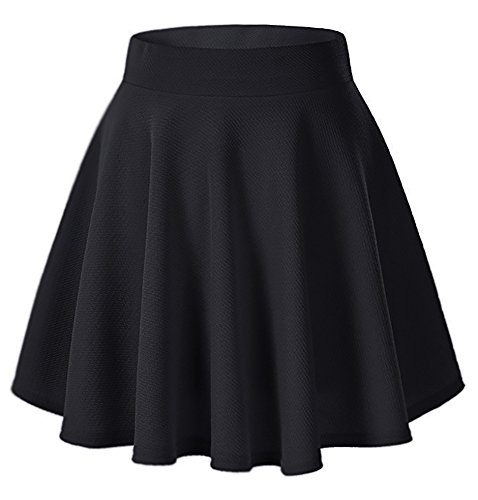 Moxeay Women's Basic A Line Pleated Circle Stretchy Flared Skater Skirt (Small, Black)