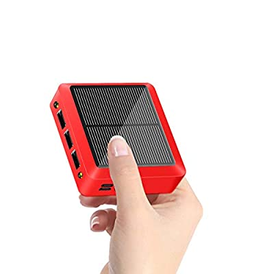 Portable Solar Charger 10000mAh Mini Power Bank, Dual Input and 3 USB Output Ports External Battery Pack with flashlights, Solar Power Bank for Camping Outdoor for iOS & Android (Red)