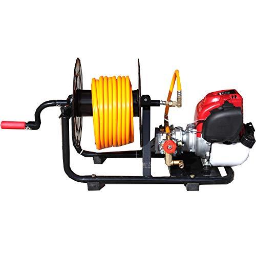 Motor y bomba de sulfatar 2 tiempos 30bar 10 litros minuto, con enrollador. Bomba 2 pistones de acero con cabeza cerámica