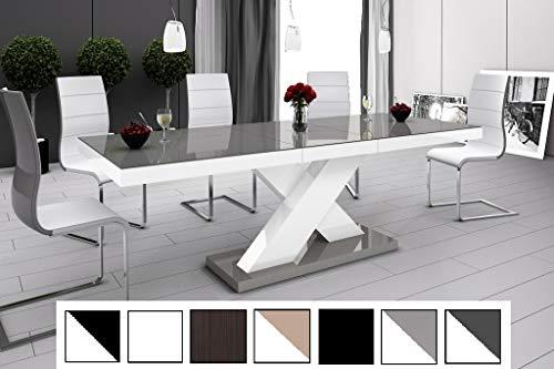 HU Design Esstisch HE-888 Hochglanz oder Matt Kombination/ausziehbar 160-210 cm (Grau Hochglanz/Weiß Hochglanz)