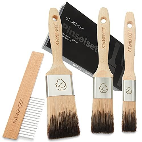 STONE REEF® - Malerpinsel Set inkl. Reinigungskamm - Haarverlustfreie Lasurpinsel - Flachpinsel, Pinselset Maler, Lackierpinsel, Lackpinsel, Pinsel Maler, Maler Pinsel, Paint Brush, Pinsel Lack