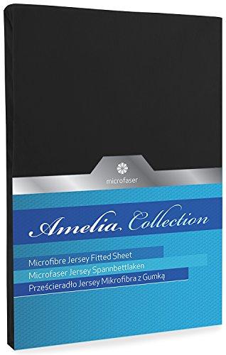 DecoKing Spannbettlaken Spannbetttuch schwarz 80x200-90x200 Microfaser Boxspringbett Black Amelia