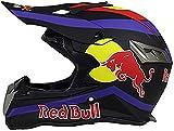 HZIH Cascos De Motocross,Cascos modulares CertificacióN Dot/ECE Locomotora Masculina Carrera De MontañA Ciclismo Cuesta Abajo Casco Integral Gafas Red Bull A,XXL=(63~64CM)