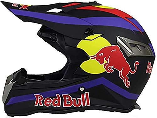 Motocross Helm Set,Full face Helm Motorradhelm ABS-GehäUse ECE-Zertifizierung Mehrere EntlüFtungsöFfnungen Coole Form Schnellverschluss Futter Schutzbrille Geben Red Bull A,XS=(53~54CM)