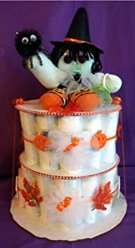 Fall Witch Halloween Diaper Cake Baby Shower Gift Centerpiece Autumn