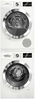 800 Series White Front Load Compact Laundry Stacked Pair with WAT28402UC 24 Washer WTG86402UC 24 Electric Condensation Dryer and WTZ20410 Stacking Kit