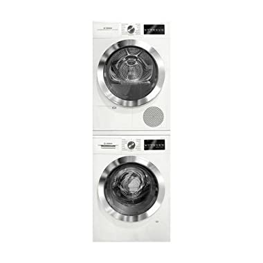 Bosch 800 Series White Front Load Compact Laundry Stacked Pair with WAT28402UC 24  Washer, WTG86402UC 24  Electric Condensation Dryer and WTZ20410 Stacking Kit