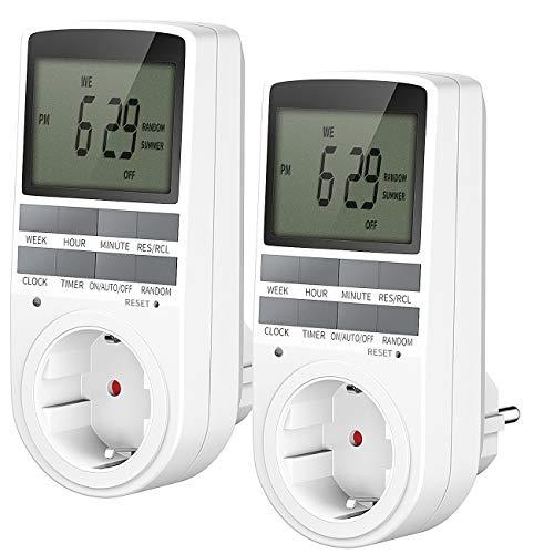 Presa Temporizzata EXTSUD 2 Pezzi Prese Timer Programmabili Spina Elettrica Digitale con 12/24 Ore Display LCD 10 Programmi Settimanali Timer Temporizzatore per Sicurezza Casa Risparmia Energia