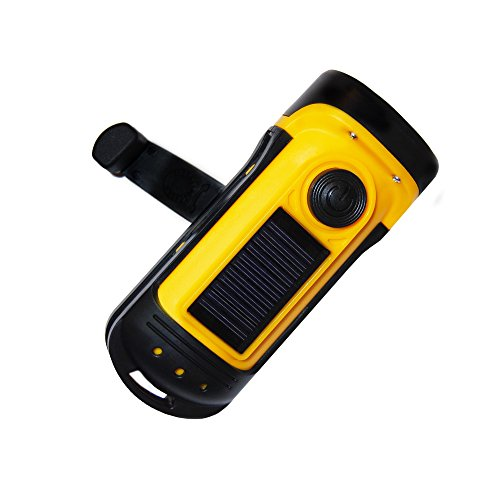 PrimalCamp Hand Crank Solar Powered Flashlight: Rechargeable Survival Gear LED Self Powered Charging Torch & Dynamo - Best for Fishing Boating Hiking Backpack Camping Safety Weather Emergency Pack