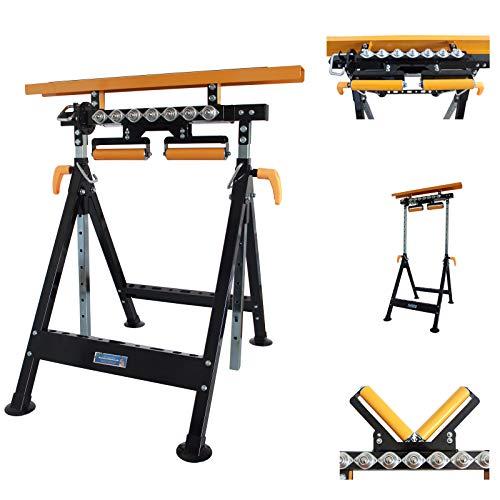 TrutzHolm® Multifunktions-Arbeitsbock Rollenbock höhenverstellbar Klappbock V-Rollen klappbar 200 kg Werktisch 4 in 1