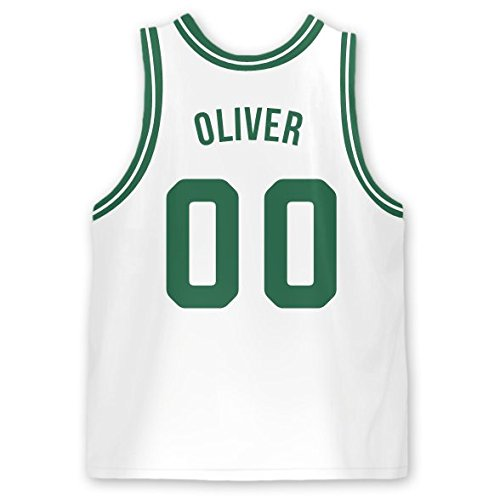 Personalized Basketball Jersey Stick-on Labels (Boston)