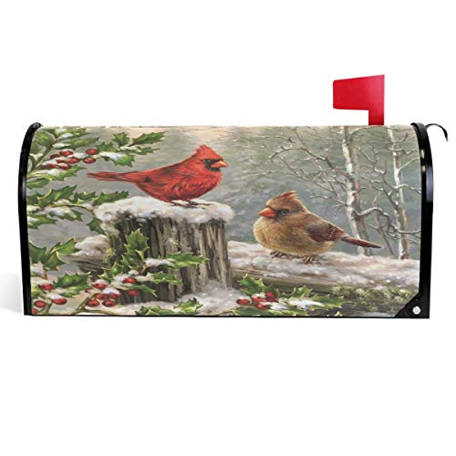 Wamika Winter Cardinal Birds Mailbox Cover Holly Berry Branches Snow Mailbox Covers Magnetic Mailbox Wraps Post Letter Box Cover Garden Home Christmas Decorations Standard Size 18' X 21'