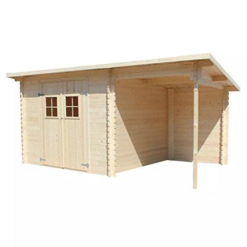 Festnight - Casetta da giardino in legno massiccio di alta qualità, 28 mm, 5,3 x 3 m