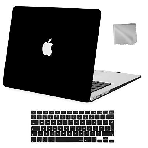 MOSISO Hülle Kompatibel mit MacBook Air 13 Zoll ältere Version 2010-2017 Release A1369 A1466, Plastik Hülle & Tastaturschutz & Tuch Abwischen Nur Kompatibel mit MacBook Air 13 Zoll, Schwarz
