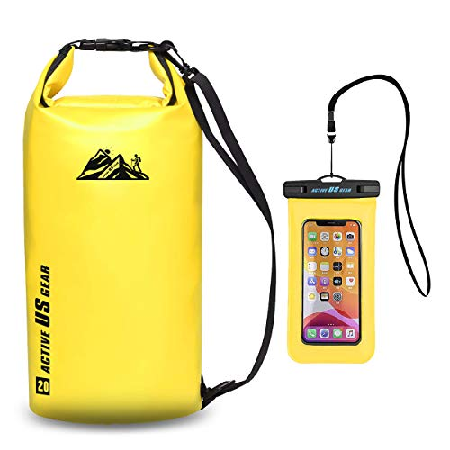 Waterproof Dry Bag with Phone case Military Grade Construction for Kayaking,Fishing,Swimming,Beach,Boating, Travel,Hiking,Survival Gear Storage for Camera &Camping Accessories Yellow 20L