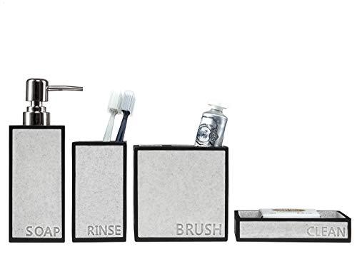 SUHU Juego de 4 Accesorios de Baño y Lavabo Rectangular Diseño Moderno con Bote Dosificador Jabon Liquido o Dispensador de Loción Jabonera Vasos Porta Cepillo de Dientes Gris + Negro
