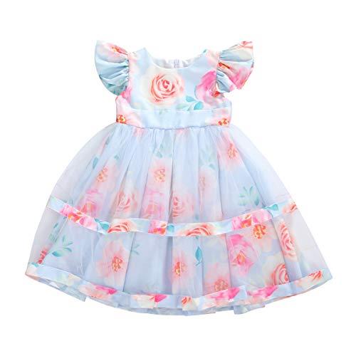 Vestito da Principessa Bambina Girocollo Manica Corta Stampa Rosa Gonna Tutu Multistrato Principessa Abito Formale (Azzurro, 4-5 Years)