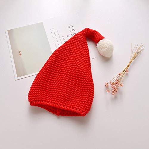 ZAAQ Kinderstrickmütze mit Fester Plüschkugel Weihnachtsmütze Nettes rotes Hut Kinder