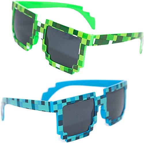 ZGHYBD 5 Pares de Gafas de Sol de píxeles, Gafas de Sol pixeladas de Camuflaje Verde para niños, protección UV, Gafas de Sol de Jugador para Fiestas de niños Adultos