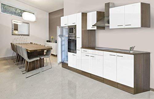 respekta Einbau Küche Küchenblock 360 cm Eiche York Nachbildung Weiß Backofen Ceran Mikrowelle Apothekerschrank