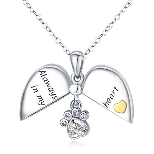 Waysles 925 Sterling Silver Heart Open&Closed Locket Necklace Engraved Alaways in My Heart with Dog Cat Pet Paw Zircon Pendant Jewelry