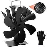Ventilador estufa Wukong, Ventilador de Chimenea con Termómetro, Actualización de funcionamiento silencioso, Para Estufas, Estufas de Leña y Chimeneas