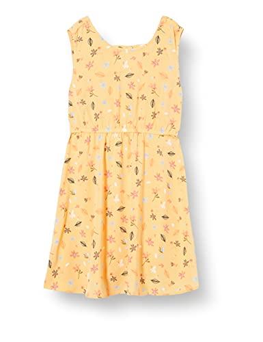 NAME IT Mädchen NKFDILLA SL Dress Kleid, Sunset Gold, 128