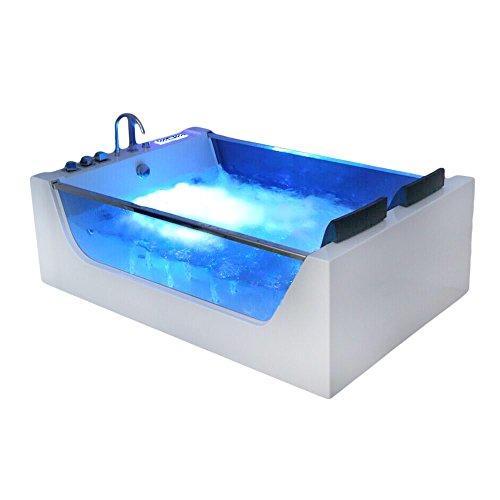 Supply24 since 2004 XXL Luxus Whirlpool Badewanne Avignon mit 22 Massage Düsen + LED Beleuchtung + Heizung + Ozon freistehende Wanne mit Glas Hot Tub Spa Indoor/innen für 2 Personen