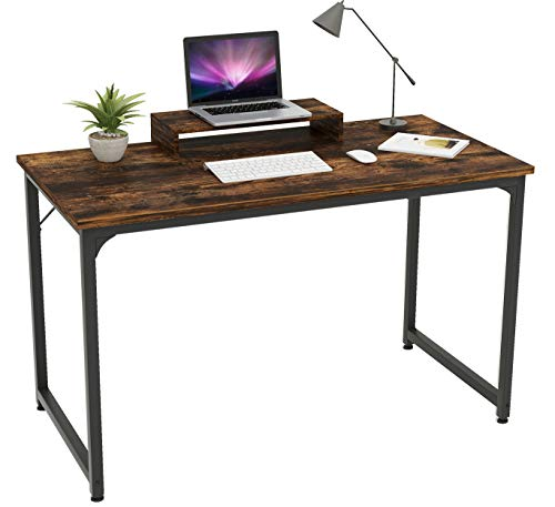 Mo.tools 47 Inch Computer Desk Sturdy Office Desks with Monitor Stand, Laptop Notebook Study Writing Table for Home Office, Workstation, Bedroom,Vintage Brown