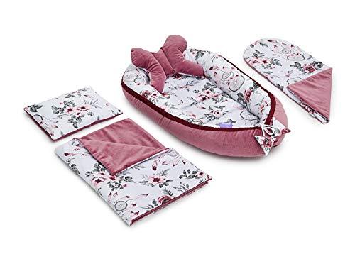 JUKKI® VELVET Set d'équipement initial bébé 5 pièces: nid bébé 50x90cm, coussin d'allaitement, couverture douillette, couverture bébé, oreiller, nid bébé, 100% coton, lit parapluie