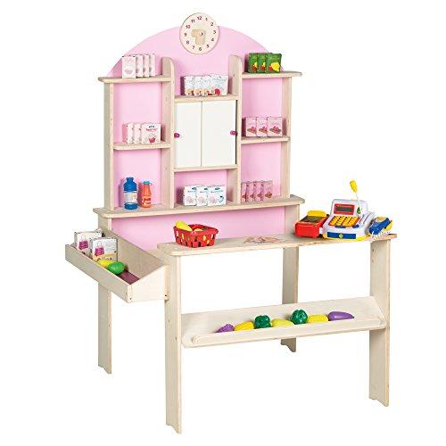 roba Kaufladen, Kinder Kaufmannsladen inkl. über 100 Teile Kaufladenzubehör und elektronischer Kasse, Verkaufsstand Holz natur, rosa, weiß mit Seitentheke & Uhr
