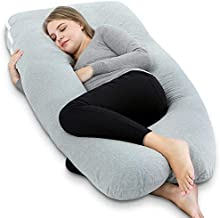 AngQi Pregnancy Pillow with Jersey Cover, U Shaped Full Body Pillow (Gray)