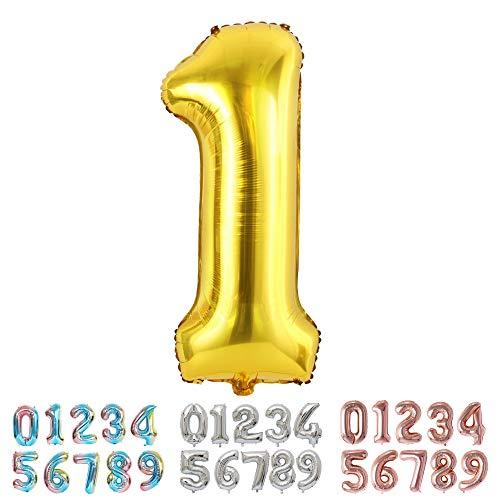 Ponmoo Foil Palloncini Numeri 1 Oro, Gigante Numero 0 1 2 3 4 5 6 7 8 9 10-19 20-29 30 40 50 60 70 80 90 100, Elio Pallone per Anniversario, Decorazione Feste di Compleanno Palloncino