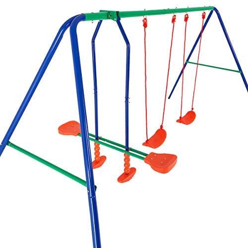 Deuba Altalena per bambini carico fino a 200kg 2 seggiolini 1 cavalluccio 4 posti dondolo per bambini Altalena da giardino