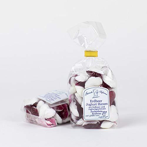 Zuckerfreie Erdbeer Joghurt Bonbons in Herzform, 120g