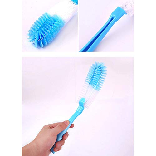 DDyna Long Handle Bottle Brush Cleaner Cup Dish Pot Bottom Scrubber Cleaning Washing Brushes Washer for Water Bottles Tea Cups Glass - Blue - 1 Pcs